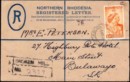 Northern Rhodesia 1948 registered envelope
