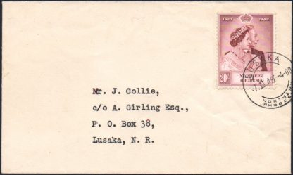 Northern Rhodesia 20s RSW on cover