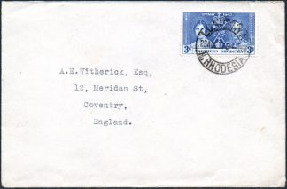 1937 3d Coronation stamp on cover