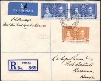 1937 Lusaka to Kisumu first flight cover