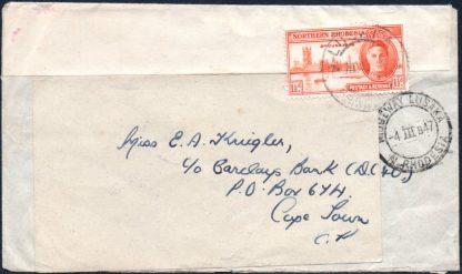 Northern Rhodesia 1947 reused envelope