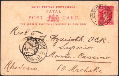 1903 postcard to Rhodesia missionary
