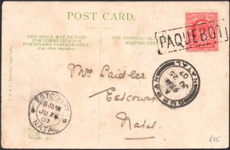 1907 Durban Paquebot cancel