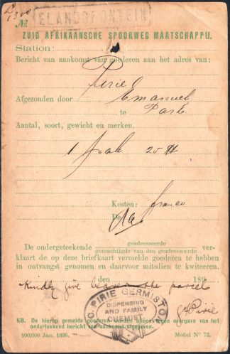 Transvaal 1899 Railway Parcel notification