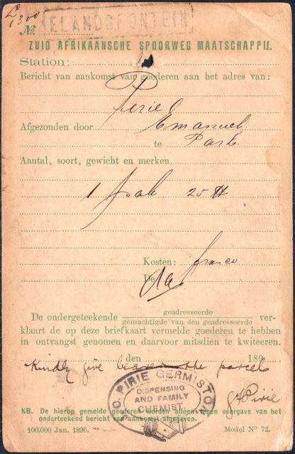Transvaal 1899 Railway Parcel notification