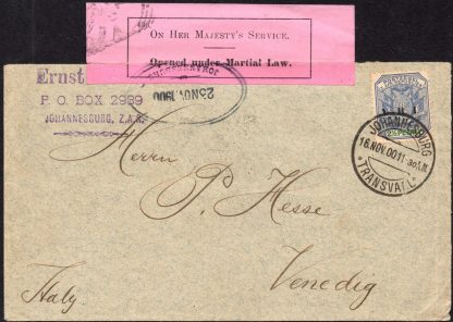 Transvaal 1900 censor cover to Italy