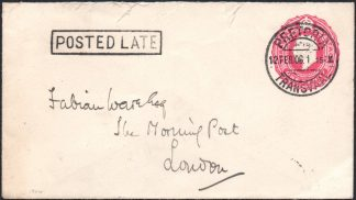 Transvaal 1906 cover POSTED LATE