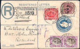 Transvaal 1908 registered cover to Holland