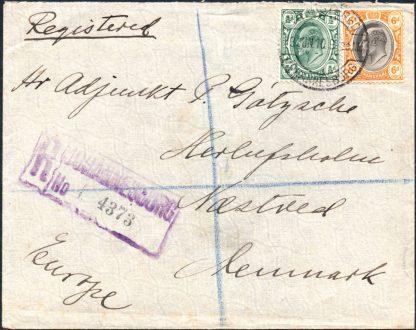 Transvaal 1910 registered cover to Denmark