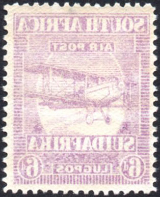 South Africa 1925 6d airmail offset variety