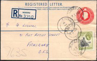 Basutoland registered envelope, Maseru postmark