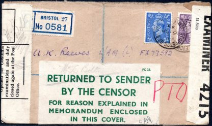 GB 1943 returned to sender by the censor label