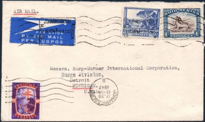 South Africa 1947 Christmas label on cover