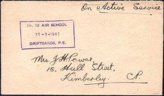 1943 AIR SCHOOL DRIFTSANDS cachet