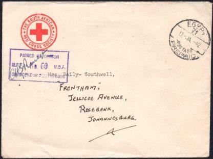 South Africa 1942 Red Cross censored cover EGYPT 71 postmark