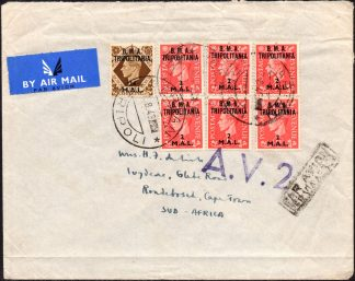 1943 cover from GARIAN TRIPOLI to South Africa
