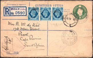 1945 Italy FPO registered cover to South Africa