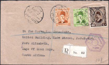 1943 registered & censored cover from Egypt